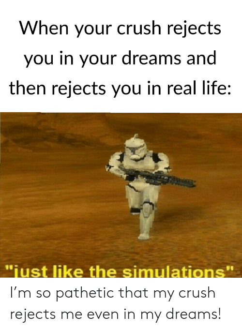 """Crush, Life, and Dreams: When your crush rejects  you in your dreams and  then rejects you in real life:  11  """"iust like the simulations' I'm so pathetic that my crush rejects me even in my dreams!"""