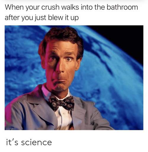 Blew: When your crush walks into the bathroom  after you just blew it up it's science