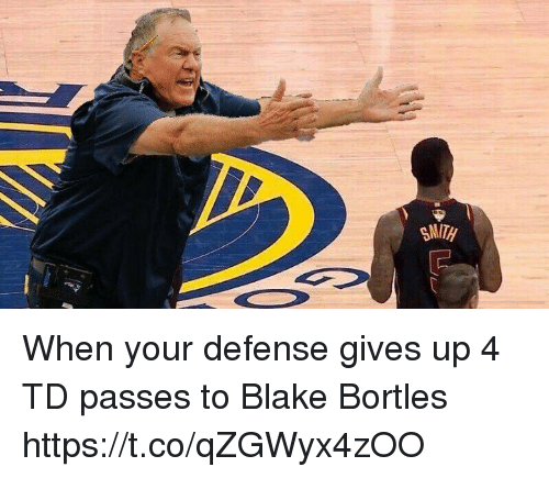 Tom Brady, Blake, and Bortles: When your defense gives up 4 TD passes to Blake Bortles https://t.co/qZGWyx4zOO