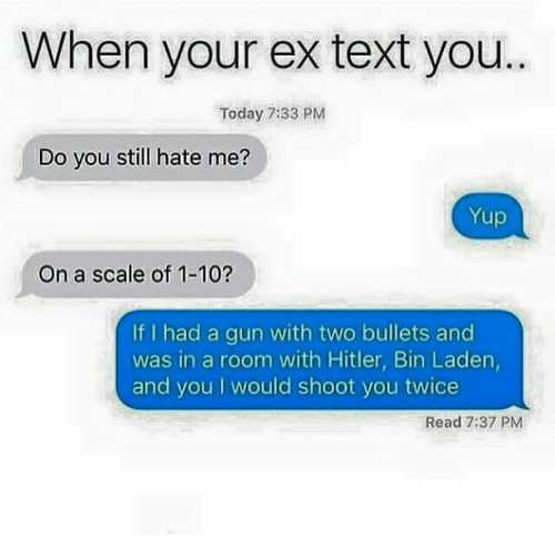 Scaling: When your ex text you  Today 7:33 PM  Do you still hate me?  Yup  On a scale of 1-10?  If I had a gun with two bullets and  was in a room with Hitler, Bin Laden  and you I would shoot you twice  Read 7:37 PM