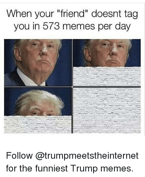 "Funniest Trump: When your ""friend"" doesnt tag  you in 573 memes per day Follow @trumpmeetstheinternet for the funniest Trump memes."