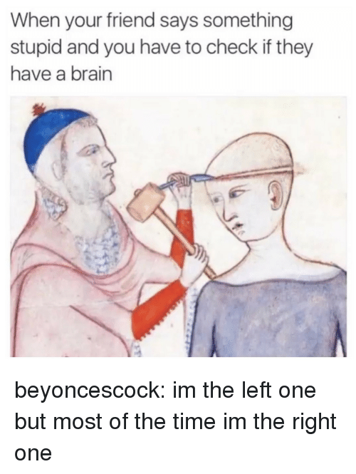 Target, Tumblr, and Blog: When your friend says something  stupid and you have to check if they  have a brain beyoncescock:  im the left one but most of the time im the right one