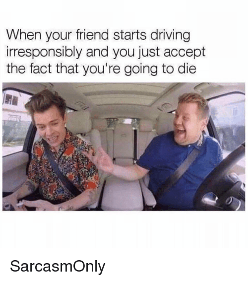 Driving, Funny, and Memes: When your friend starts driving  irresponsibly and you just accept  the fact that you're going to die SarcasmOnly