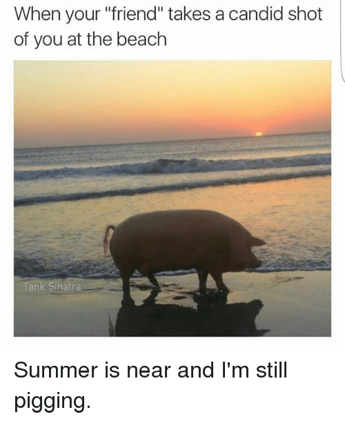 """Candidness: When your """"friend"""" takes a candid shot  of you at the beach  A  Tank Sinatra Summer is near and I'm still pigging."""