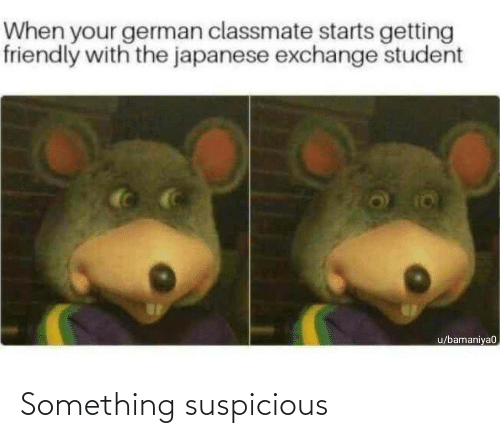 Japanese: When your german classmate starts getting  friendly with the japanese exchange student  u/bamaniya0 Something suspicious