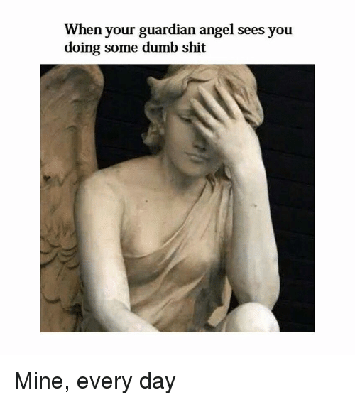 Dumb, Shit, and Angel: When your guardian angel sees you  doing some dumb shit Mine, every day