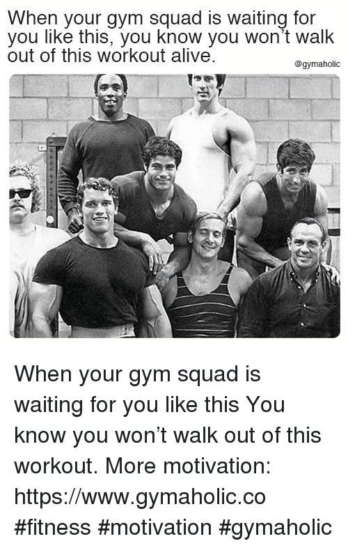 Alive, Gym, and Squad: When your gym squad is waiting for  you like this, you know you won't walk  out of this workout alive  @gymaholic When your gym squad is waiting for you like this  You know you won't walk out of this workout.  More motivation: https://www.gymaholic.co  #fitness #motivation #gymaholic