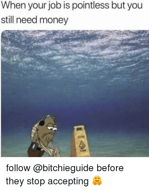 Memes, Money, and 🤖: When your job is pointless but you  still need money follow @bitchieguide before they stop accepting 🤗