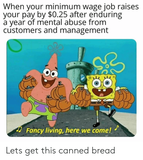 Minimum Wage: When your minimum wage job raises  your pay by $0.25 after enduring  a year of mental abuse from  customers and management  Fancy living, here we come! Lets get this canned bread
