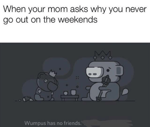 Weekends: When your mom asks why you never  go out on the weekends  Wumpus has no friends.