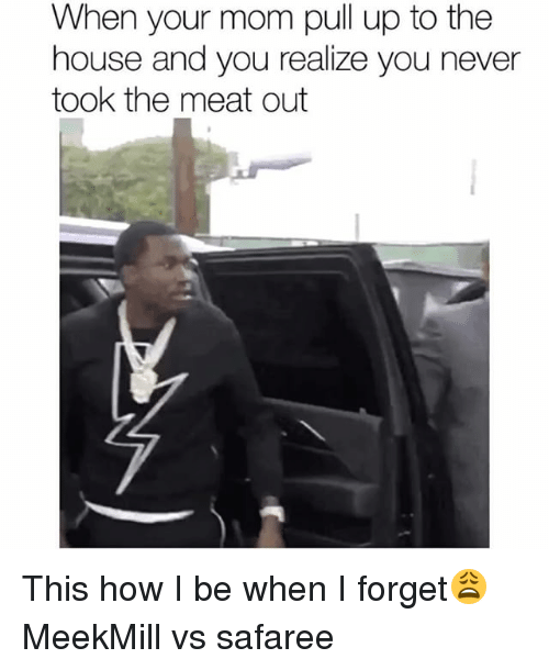 safaree: When your mom pull up to the  house and you realize you never  took the meat out This how I be when I forget😩 MeekMill vs safaree