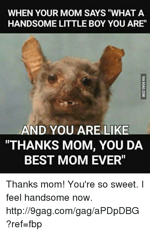 """Best Mom Ever: WHEN YOUR MOM SAYS """"WHAT A  HANDSOME LITTLE BOY YOU ARE""""  AND YOU ARE LIKE  """"THANKS MOM, YOU DA  BEST MOM EVER"""" Thanks mom! You're so sweet. I feel handsome now. http://9gag.com/gag/aPDpDBG?ref=fbp"""