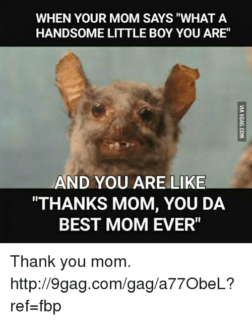 """Best Mom Ever: WHEN YOUR MOM SAYS """"WHAT A  HANDSOME LITTLE BOY YOU ARE""""  AND YOU ARE LIKE  """"THANKS MOM, YOU DA  BEST MOM EVER"""" Thank you mom. http://9gag.com/gag/a77ObeL?ref=fbp"""