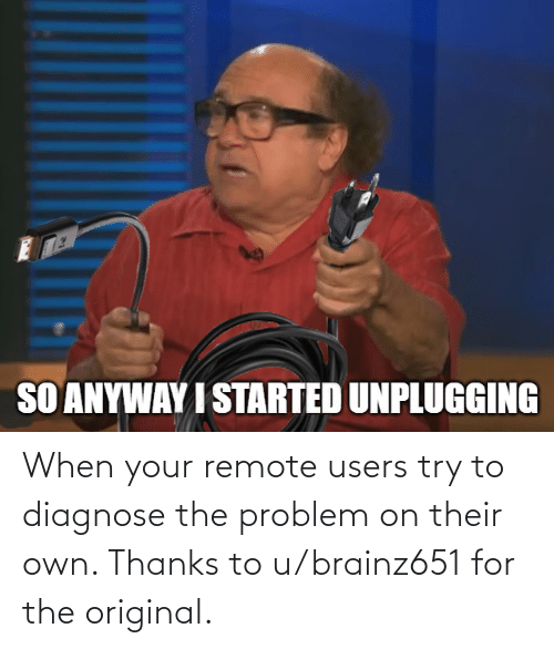 remote: When your remote users try to diagnose the problem on their own. Thanks to u/brainz651 for the original.