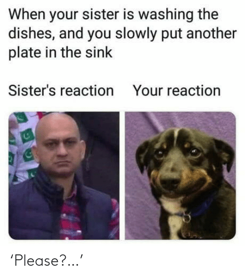 sink: When your sister is washing the  dishes, and you slowly put another  plate in the sink  Sister's reaction  Your reaction 'Please?…'
