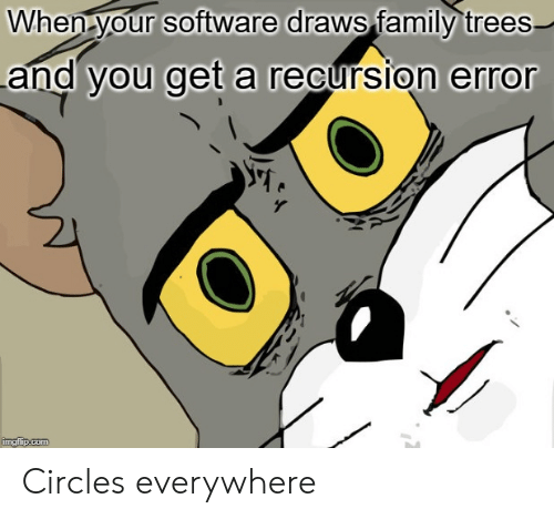 You Get A: When your software draws family trees  and you get a recursion error  imgflip.com Circles everywhere