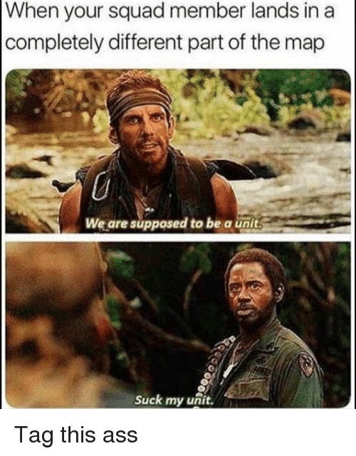 Ass, Funny, and Squad: When  your squad member lands in a  completely different part of the map  We are supposed to be a unit  Suck my unit. Tag this ass