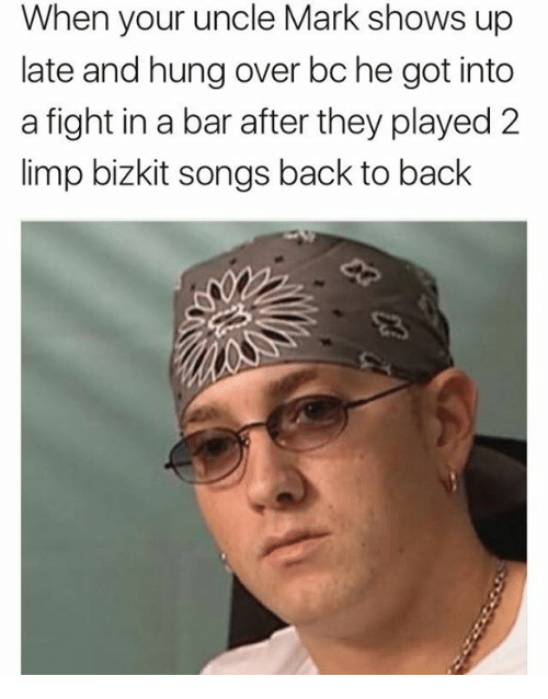 limp bizkit: When your uncle Mark shows up  late and hung over bc he got into  a fight in a bar after they played 2  limp bizkit songs back to back
