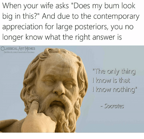 """Facebook, Memes, and facebook.com: When your wife asks """"Does my bum look  big in this?"""" And due to the contemporary  appreciation for large posteriors, you no  longer know what the right answer is  CLASSICAL ART MEMES  facebook.com/classicalartimemes  """"The onily thing  I know is that  I know nothing""""  - Socrates"""