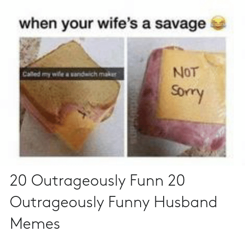 Funny Husband Memes: when your wife's a savage  Called my wle a sandwich maker  NoT  Sory 20 Outrageously Funn  20 Outrageously Funny Husband Memes