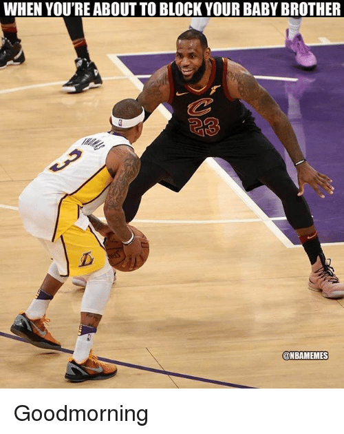 Nba, Baby, and Brother: WHEN YOU'RE ABOUT TO BLOCK YOUR BABY BROTHER  23  @NBAMEMES Goodmorning