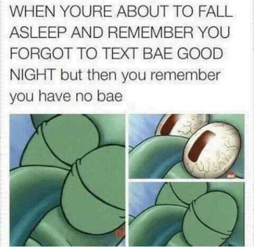 Bae, Fall, and Good: WHEN YOURE ABOUT TO FALL  ASLEEP AND REMEMBER YOU  FORGOT TO TEXT BAE GOOD  NIGHT but then you remember  you have no bae