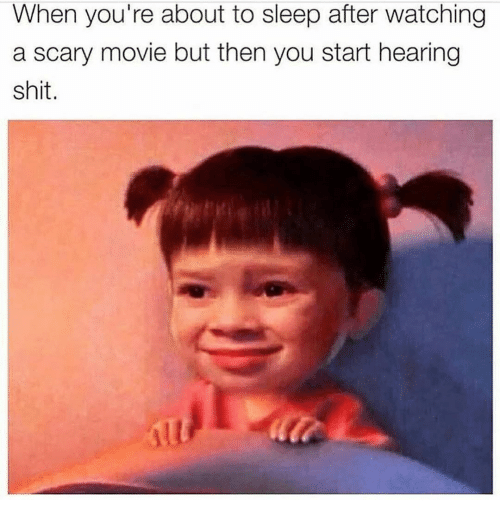scari movie: When you're about to sleep after watching  a scary movie but then you start hearing  shit