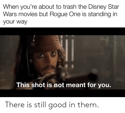 Meant: When you're about to trash the Disney Star  Wars movies but Rogue One is standing in  your way  This shot is not meant for you.  made with mematic There is still good in them.