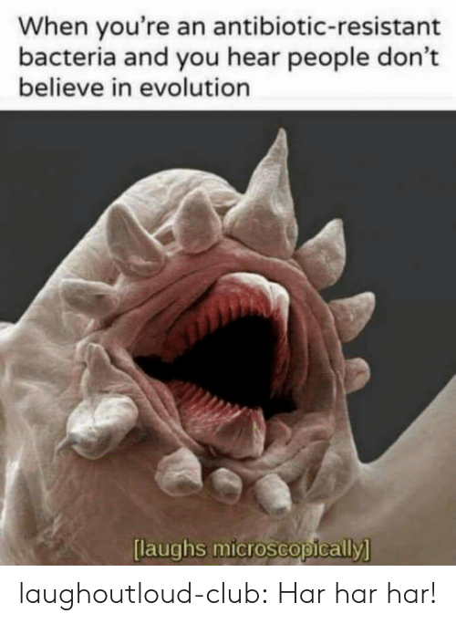 Laughs Microscopically: When you're an antibiotic-resistant  bacteria and you hear people don't  believe in evolution  [  laughs microscopically  ] laughoutloud-club:  Har har har!