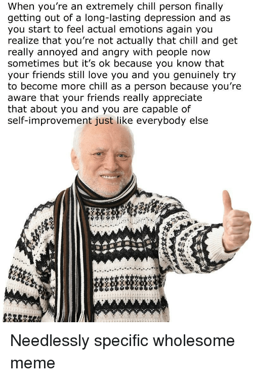 Chill, Friends, and Love: When you're an extremely chill person finally  getting out of a long-lasting depression and as  you start to feel actual emotions again you  realize that you're not actually that chill and get  really annoyed and angry with people now  sometimes but it's ok because you know that  your friends still love you and you genuinely try  to become more chill as a person because you're  aware that your friends really appreciate  that about you and you are capable of  self-improvement just like everybody else <p>Needlessly specific wholesome meme</p>
