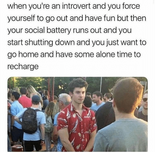 an introvert: when you're an introvert and you force  yourself to go out and have fun but then  your social battery runs out and you  start shutting down and you just want to  go home and have some alone time to  recharge