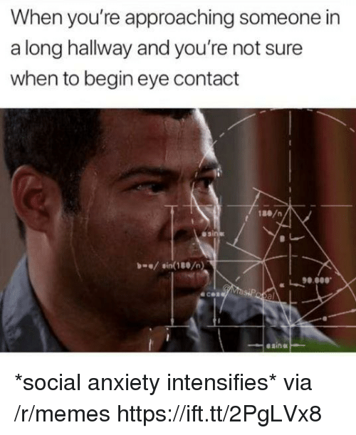 Memes, Anxiety, and Intensifies: When you're approaching someone in  a long hallway and you're not sure  when to begin eye contact  1ae/n  asi  sin(180/n)  90.0  00.  ecen  el  esin *social anxiety intensifies* via /r/memes https://ift.tt/2PgLVx8