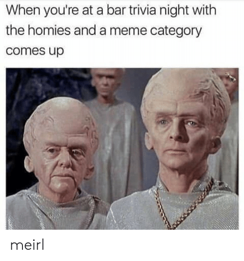 Meme, MeIRL, and Bar: When you're at a bar trivia night with  the homies and a meme category  comes up meirl