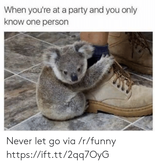 Funny, Party, and Never: When you're at a party and you only  know one person Never let go via /r/funny https://ift.tt/2qq7OyG