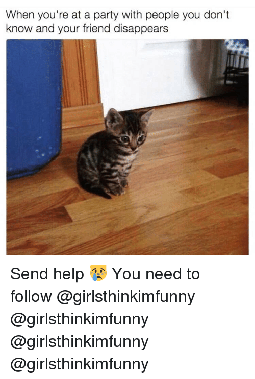 Memes, Party, and Help: When you're at a party with people you don't  know and your friend disappears Send help 😿 You need to follow @girlsthinkimfunny @girlsthinkimfunny @girlsthinkimfunny @girlsthinkimfunny