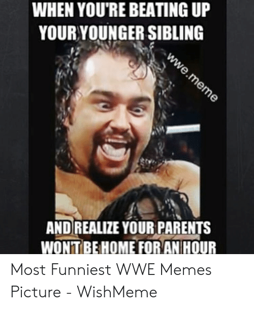 Wwe Memes 2017: WHEN YOU'RE BEATING UP  YOUR YOUNGER SIBLING  AND REALIZE YOUR PARENTS  WONTBEHOME FORAN HOUR Most Funniest WWE Memes Picture - WishMeme
