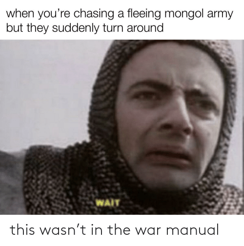 suddenly: when you're chasing a fleeing mongol army  but they suddenly turn around  WAIT this wasn't in the war manual
