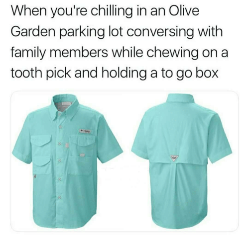 conversing: When you're chilling in an Olive  Garden parking lot conversing with  family members while chewing on a  tooth pick and holding a to go box