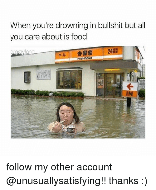 Food, Bullshit, and Account: When you're drowning in bullshit but all  you care about is food  fang  drgra  yoSHInoyA follow my other account @unusuallysatisfying!! thanks :)