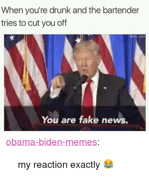 "Drunk, Fake, and Memes: When you're drunk and the bartender  tries to cut you off  omo wad  You are fake news. <p><a href=""https://obama-biden-memes.tumblr.com/post/157367603061/my-reaction-exactly"" class=""tumblr_blog"" target=""_blank"">obama-biden-memes</a>:</p><blockquote><p>my reaction exactly 😂</p></blockquote>"