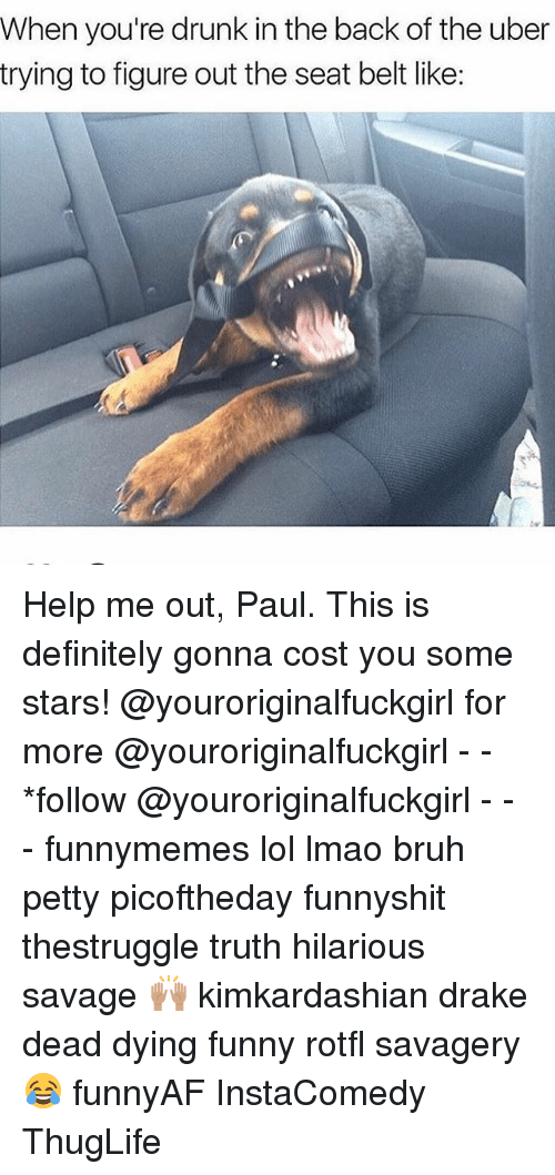 Bruh, Definitely, and Drake: When you're drunk in the back of the uber  trying to figure out the seat belt like: Help me out, Paul. This is definitely gonna cost you some stars! @youroriginalfuckgirl for more @youroriginalfuckgirl - - *follow @youroriginalfuckgirl - - - funnymemes lol lmao bruh petty picoftheday funnyshit thestruggle truth hilarious savage 🙌🏽 kimkardashian drake dead dying funny rotfl savagery 😂 funnyAF InstaComedy ThugLife