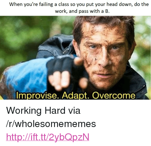 """Do The Work: When you're failing a class so you put your head down, do the  work, and pass with a B.  mprovise. Adapt. Overcome <p>Working Hard via /r/wholesomememes <a href=""""http://ift.tt/2ybQpzN"""">http://ift.tt/2ybQpzN</a></p>"""