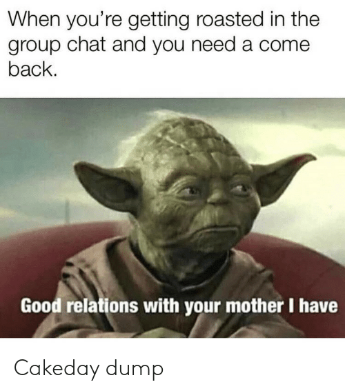 Getting Roasted: When you're getting roasted in the  group chat and you need a come  back.  Good relations with your mother I have Cakeday dump