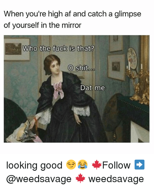 Dat Me: When you're high af and catch a glimpse  of yourself in the mirror  o the fuck is that?  O shit  Dat me looking good 😏😂 🍁Follow ➡ @weedsavage 🍁 weedsavage