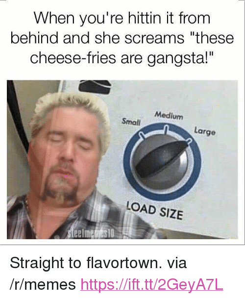 "cheese fries: When you're hittin it from  behind and she screams ""these  cheese-fries are gangsta!""  Medium  Small  Large  LOAD SIZE <p>Straight to flavortown. via /r/memes <a href=""https://ift.tt/2GeyA7L"">https://ift.tt/2GeyA7L</a></p>"