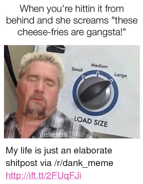 "cheese fries: When you're hittin it from  behind and she screams ""these  cheese-fries are gangsta!""  Medium  Small  Large  LOAD SIZE <p>My life is just an elaborate shitpost via /r/dank_meme <a href=""http://ift.tt/2FUqFJi"">http://ift.tt/2FUqFJi</a></p>"