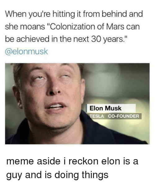 """Reckonize: When you're hitting it from behind and  she moans """"Colonization of Mars can  be achieved in the next 30 years.""""  a elonmusk  Elon Musk  TESLA CO-FOUNDER meme aside i reckon elon is a guy and is doing things"""