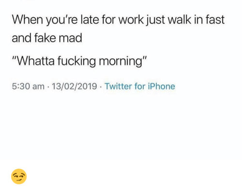 """Fake, Fucking, and Funny: When you're late for work just walk in fast  and fake mad  """"Whatta fucking morning""""  5:30 am 13/02/2019 Twitter for iPhone 😏"""