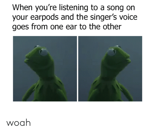 Dank, Voice, and A Song: When you're listening to a song on  your earpods and the singer's voice  goes from one ear to the other woah