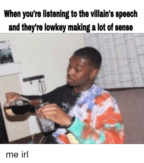 Lowkey, Irl, and Me IRL: When you're listening to the villain's speech  and they're lowkey making a lot of sense me irl
